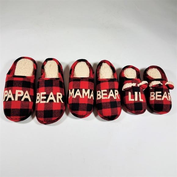 13c770ba4b4 Dearfoams Shoes - DEARFOAMS Slippers Red Plaid Mama Papa Bear